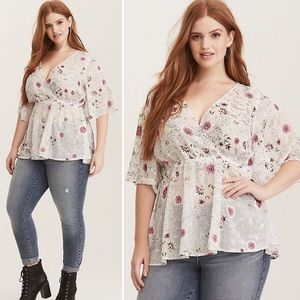 TORRID | Lilly Floral Fuax Wrap Georgette Blouse 1